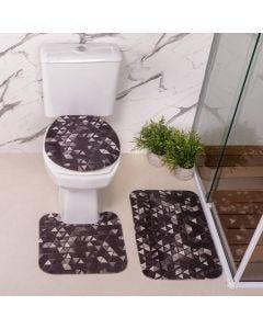 Jogo De Tapete Para Banheiro 03 Peças Em Transfer - Triangulos