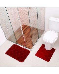 Jogo De Tapete Para Banheiro Miami 02 Peças Solecasa - Vermelho