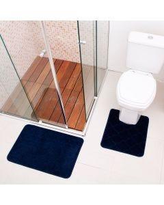 Jogo De Tapete Para Banheiro Miami 02 Peças Solecasa - Marinho