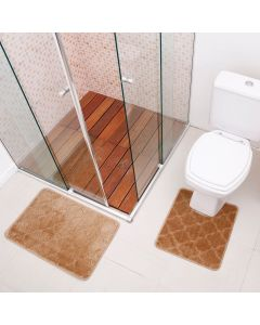 Jogo de Tapete para Banheiro Miami 02 Peças Solecasa - Natural