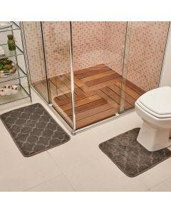 Jogo de Tapete para Banheiro Miami 02 Peças Solecasa - Chumbo