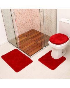 Jogo De Tapete Para Banheiro Miami 03 Peças Solecasa - Vermelho