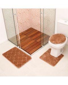 Jogo de Tapete para Banheiro Miami 03 Peças Solecasa - Taupe