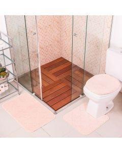 Jogo de Tapete para Banheiro Miami 03 Peças Solecasa - Rose