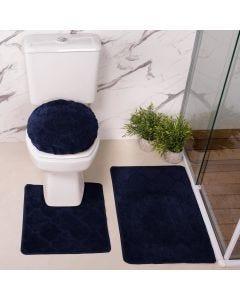 Jogo de Tapete para Banheiro Miami 03 Peças Solecasa - Azul Marinho