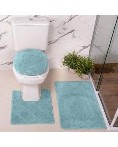 Jogo de Tapete para Banheiro Miami 03 Peças Solecasa - Turquesa