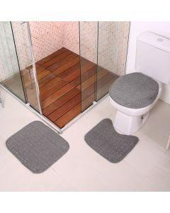 Jogo De Tapete Para Banheiro Onix 3 Peças Havan - Cinza