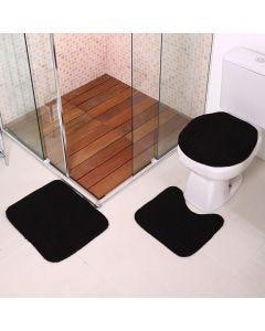 Jogo De Tapete Para Banheiro Onix 3 Peças Havan - Preto