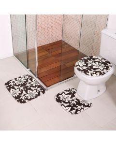 Jogo de Tapetes para Banheiro Antiderrapante - Preto