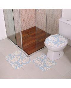Jogo de Tapetes para Banheiro Antiderrapante - Azul Claro