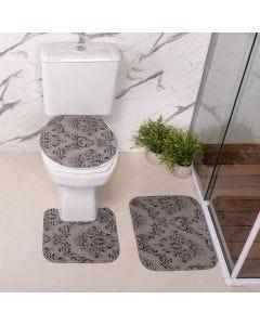 Jogo de Tapetes para Banheiro Antiderrapante - Cinza