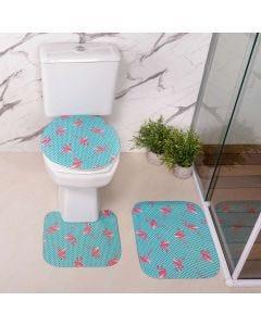 Jogo de Tapetes para Banheiro Antiderrapante - Azul