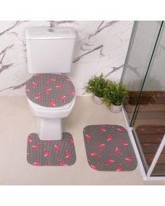 Jogo de Tapetes para Banheiro Antiderrapante - Rosa