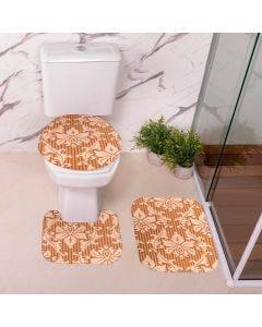 Jogo de Tapetes para Banheiro Antiderrapante - Caramelo