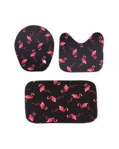 Jogo De Tapetes Para Banheiro Antiderrapante - Flamingo Preto