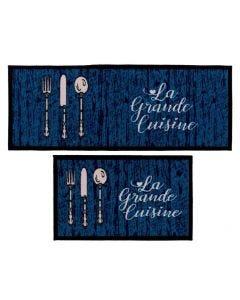 Jogo De Tapetes Para Cozinha 2 Peças Napoli - Cuisine Azul