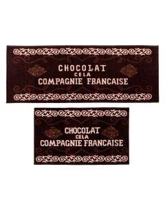 Jogo De Tapetes Para Cozinha 2 Peças Napoli - Chocolate