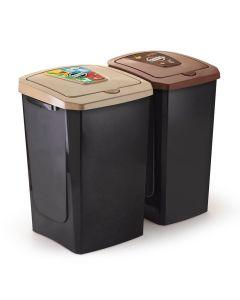 Kit de Lixeira Coleta Reciclável Arthi - Preto