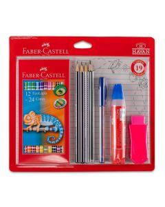 Kit Escolar com 19 Peças Faber Castell - Colorido