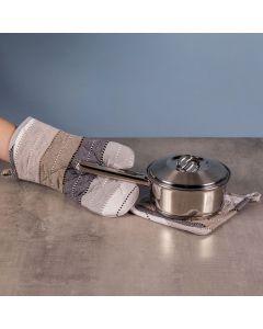 Kit Luva e Pega Panela Gourmet Chefs - Marron e cinza