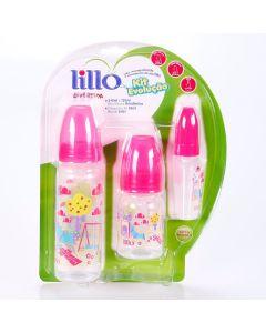 Kit Mamadeira 3 peças Evolução Divertida 0 á 6 meses Lillo - Rosa