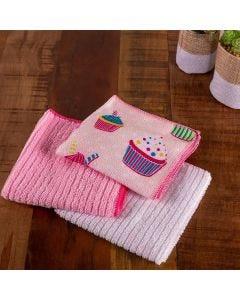 Kit Pano de Limpeza Color Art Corttex - Cupcake