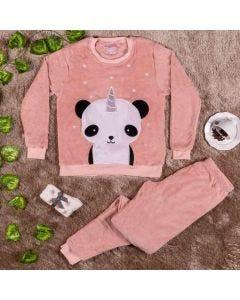 Kit Pijama Adulto com Meia Pandinha Holla