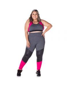 Legging Plus Size com Recortes Scream Mescla Escuro/Rosa