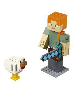 Lego Minecraft Grande Alex com a Galinha 160 peças - 21149