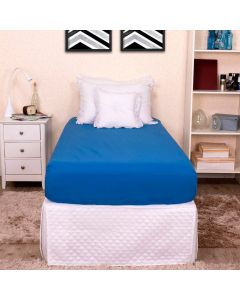 Lençol com Elástico Solteiro 200 Fios Dubai - Azul Indigo