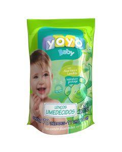 Lenço Umedecido Refil Aloe Vera 70 Unidades Yoyo Baby - VERDE