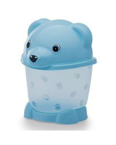Lixeira Transparente com Pé e Tampa 2,6L Urso Yoyo Baby - Azul translucido