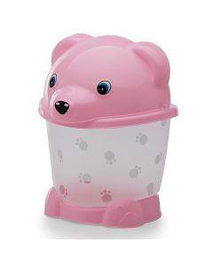 Lixeira Transparente com Pé e Tampa 2,6L Urso Yoyo Baby - Rosa translucido