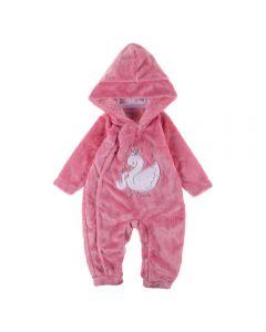 Macacão de Bebê de Pelinho Cisne Yoyo Baby Rosa