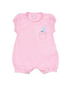 Macacão de Bebê Listrado Coelho Yoyo Baby Rosa