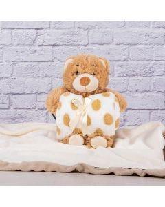 Manta para Bebê 75cm x 1,00m Com Urso de Pelúcia - Caramelo