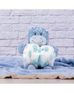 Manta para Bebê 75cm x 1,00m Com Urso de Pelúcia - Azul Claro