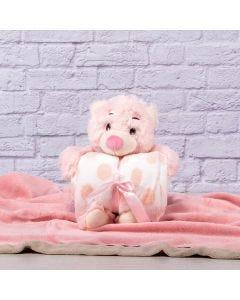 Manta para Bebê 75cm x 1,00m Com Urso de Pelúcia - Rosa Claro