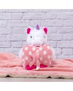 Manta para Bebê 75cm x 1,00m Com Urso de Pelúcia - Rosa Embacado