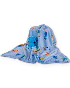 Manta para Bebê 90 x 110cm Dyuri Carinho Jolitex - Azul