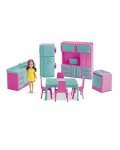 Mini Cozinha Com Boneca Judy 405 Samba Toys - Verde