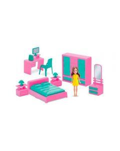 Mini Quarto Com Boneca Judy 404 Samba Toys - Rosa