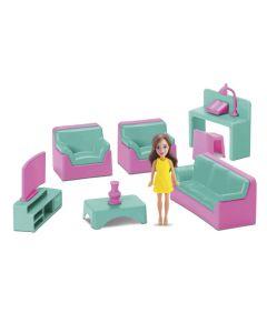 Mini Sala Com Boneca Judy 403 Samba Toys - Rosa