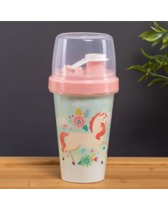 Mini Shakeira 320ml Unicórnio Plasutil - Rosa