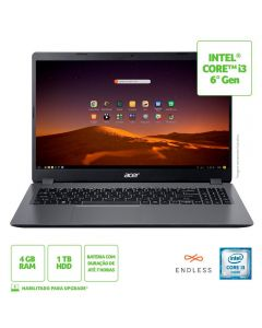 "Notebook Acer Aspire 3 15,6"" I3/4Gb/1Tb/Endless - Cinza"