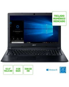 "Notebook Aspire 3 Intel Celeron 4GB RAM 500GB 15.6"" Windows 10 Acer  - Preto"