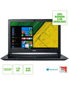 "Notebook Acer Aspire 5 AMD A12/8GB/1TB/Win10/AMD Radeon RX 540 15.6"" HD - Preto"