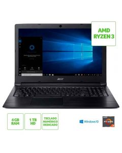 "Notebook Aspire 3 AMD Ryzen 3/4GB/1TB/Win10 Tela 15,6"" HD Acer - Preto"