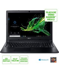 "Notebook Aspire 3 AMD Ryzen/8GB/1TB/Win10 15,6"" Acer - Preto"