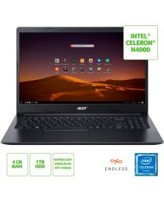 "Notebook Aspire 3 Celeron/4Gb/1Tb/Endless 15,6"" Acer - Preto"